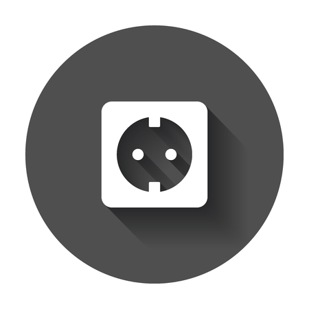 Extension cord vector icon. Electric power socket flat illustration with long shadow. Stok Fotoğraf - 79725702