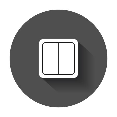 Electric light switch icon. Electric switch flat vector illustration with long shadow.