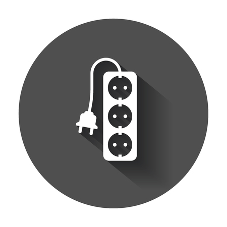 Extension cord vector icon. Electric power socket flat illustration with long shadow.