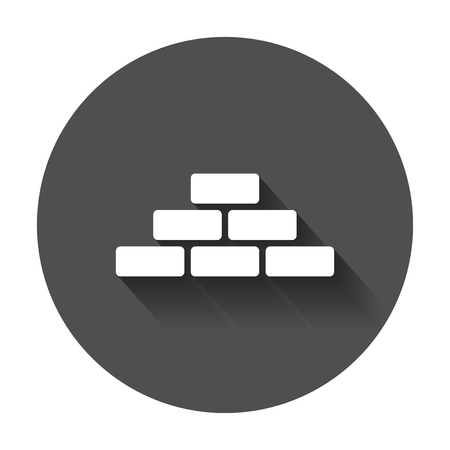 regular: Wall brick icon in flat style. Wall symbol illustration with long shadow.