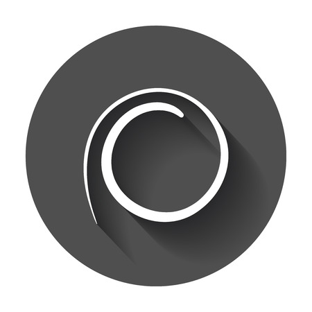 ballpoint: Hand drawn scribble circle. Vector element. Illustration with long shadow.