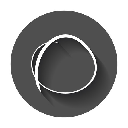 Hand drawn scribble circle, element. Illustration with long shadow.