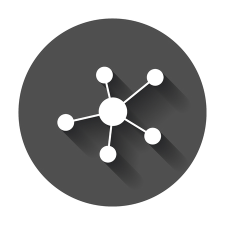 Social network, molecule, dna icon in flat style. Illustration with long shadow.