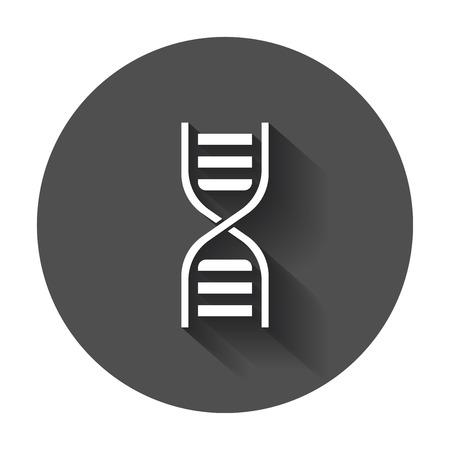 Dna icon. Medecine molecule flat illustration with long shadow.