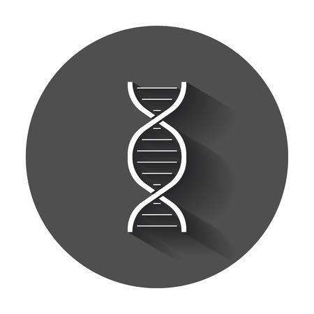 Dna vector icon. Medecine molecule flat illustration with long shadow.