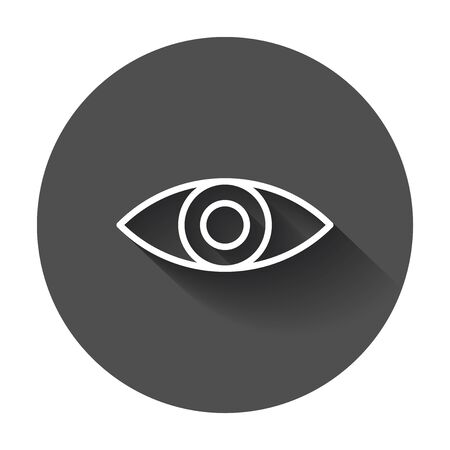 Simple eye icon vector. Eyesight pictogram in flat style with long shadow.