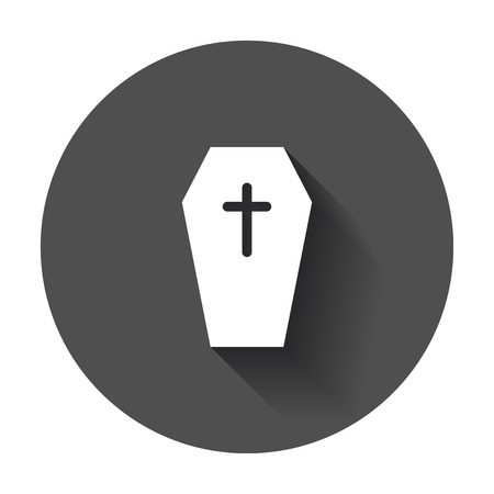 Halloween grave icon. Gravestone vector illustration. Rip tombstone flat icon with long shadow.