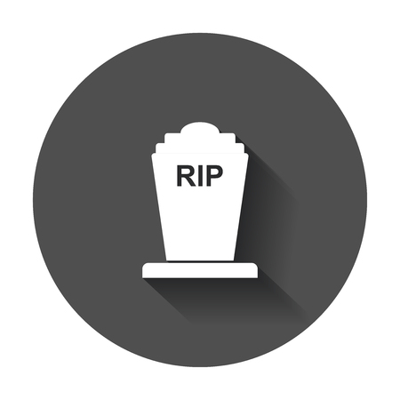 undead: Halloween grave icon. Gravestone vector illustration. Rip tombstone flat icon with long shadow.