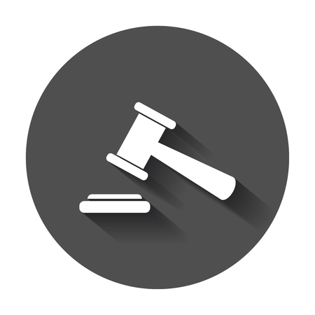 Auction hammer vector icon. Court tribunal flat icon with long shadow.