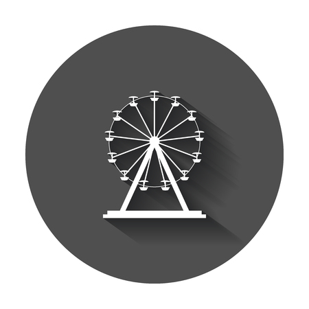 Ferris wheel vector icon. Carousel in park icon. Amusement ride illustration with long shadow.