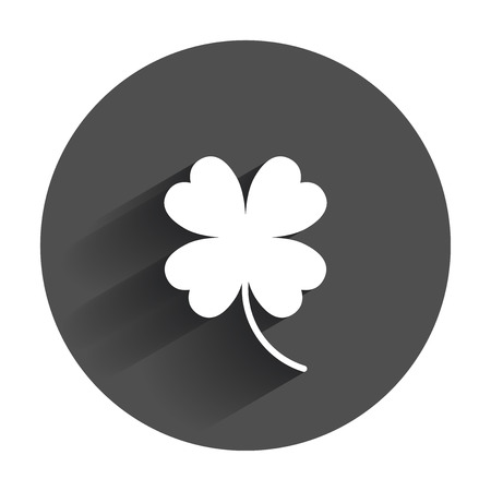 Four leaf clover vector icon. Clover silhouette simple icon illustration with long shadow.