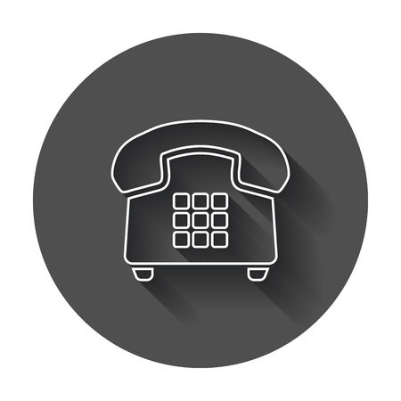 Phone vector icon. Old vintage telephone symbol illustration with long shadow.