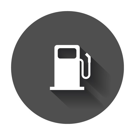 Fuel gas station icon in flat style. Car petrol pump flat illustration with long shadow.