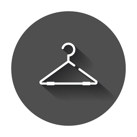 Hanger vector icon. Wardrobe hanger flat illustration with long shadow.