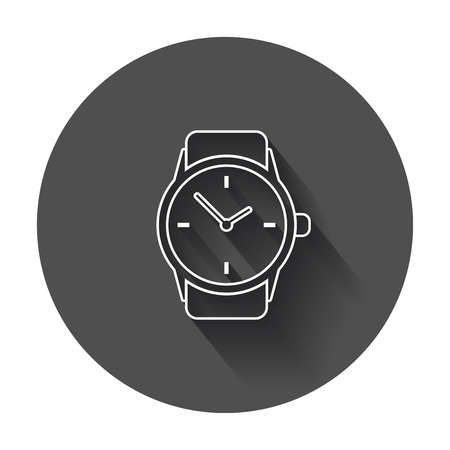24: Watch vector icon in line style. Clock flat illustration with long shadow.