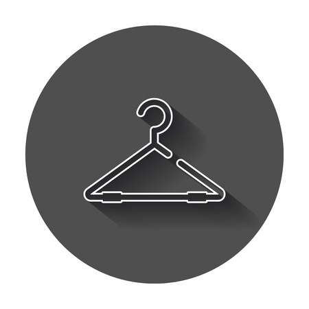 hangers: Hanger vector icon in line style. Wardrobe hanger flat illustration with long shadow.