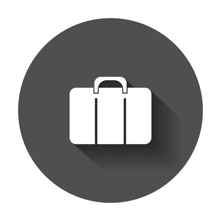 diplomat: Suitcase vector icon. Luggage illustration in flat style with long shadow.