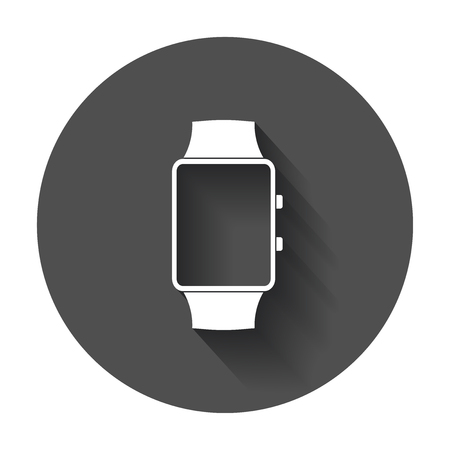 24: Watch vector icon. Clock flat illustration with long shadow. Illustration