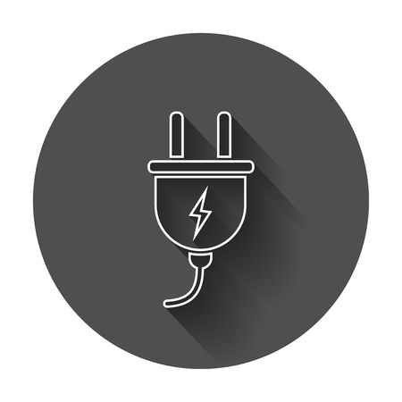 adapters: Plug vector icon in line style. Power wire cable flat illustration with long shadow.
