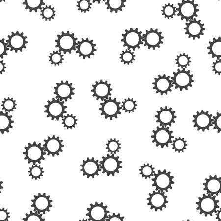 Gear seamless pattern background icon. Flat vector illustration. Cogwheel business sign symbol pattern.