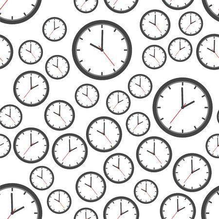 シームレスなパターン背景アイコンを時計します。フラットのベクター イラストです。クロック サイン ・ シンボル パターン。