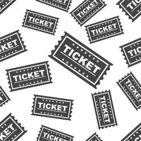 Ticket seamless pattern background icon. Flat vector illustration. Ticket sign symbol pattern. Illustration