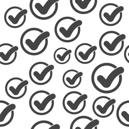 Check mark seamless pattern background icon. Flat vector illustration. Check sign symbol pattern. 向量圖像