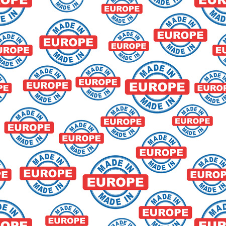 Made in Europe seamless pattern background icon. Flat vector illustration. Europe sign symbol pattern. Illustration