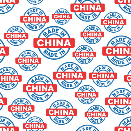 postmark: Made in China seamless pattern background icon. Flat vector illustration. China sign symbol pattern.