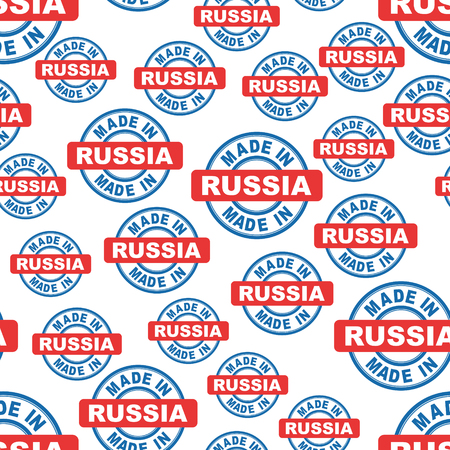 Made in Russia seamless pattern background icon. Flat vector illustration. Russia sign symbol pattern.