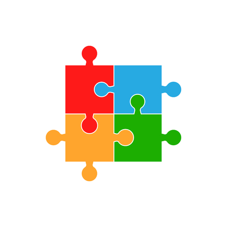 Colorful jigsaw puzzle vector. Flat illustration. Puzzle game. Illustration