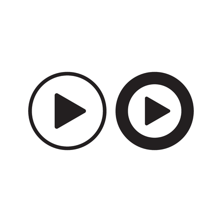 Play icon vector. Play video illustration in flat style.