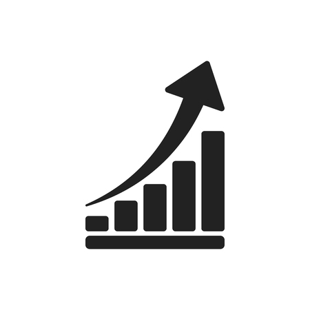 Growth chart icon. Grow diagram flat vector illustration. Business concept.