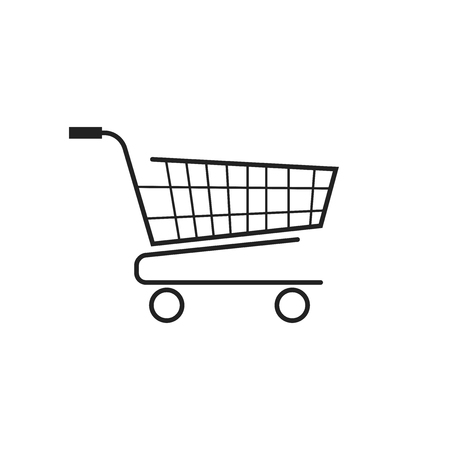 Shopping cart vector icon. Flat illustration. Illustration