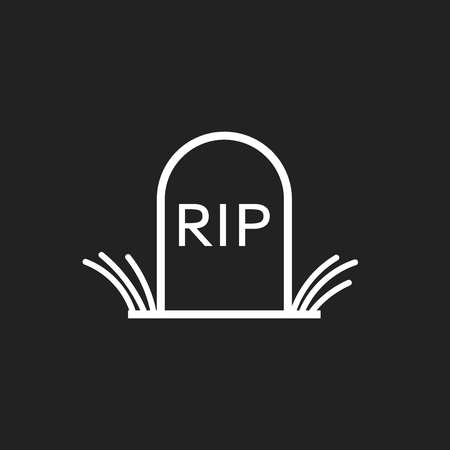 Halloween grave icon in line style. Gravestone vector illustration. Rip tombstone flat icon.