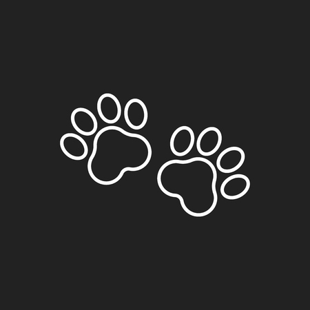 Paw print vector icon in line style.