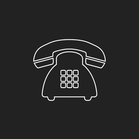 Phone vector icon in line style. Old vintage telephone symbol illustration. Фото со стока - 81058127