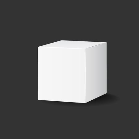 Blank white carton 3d box icon. Box package mockup vector illustration.