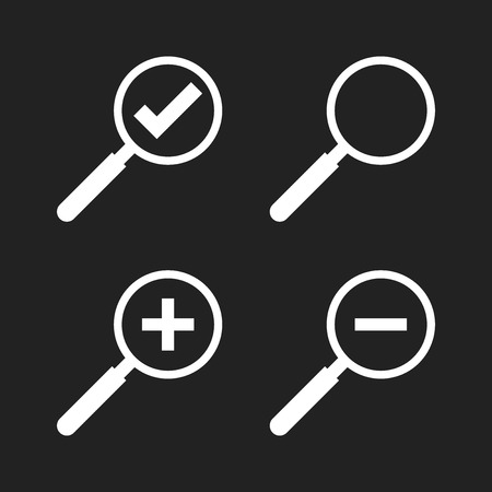 Set of loupe icon vector. Magnifier in flat style. Search sign concept. Illustration