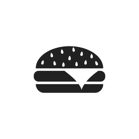 Burger fast food flat vector icon. Hamburger symbol logo illustration. 向量圖像