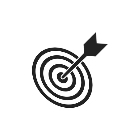 Target aim flat vector icon. Darts game symbol logo illustration. Success pictogram concept.