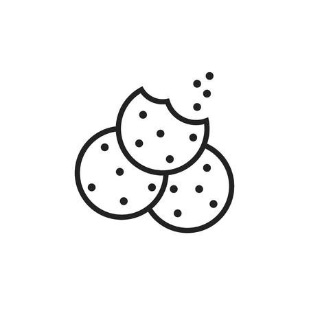 Cookie flat vector icon. Chip biscuit illustration. Dessert food picogram.