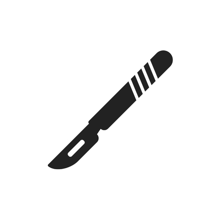 sterilized: Medical scalpel vector icon. Hospital surgery knife sign illustration. Illustration