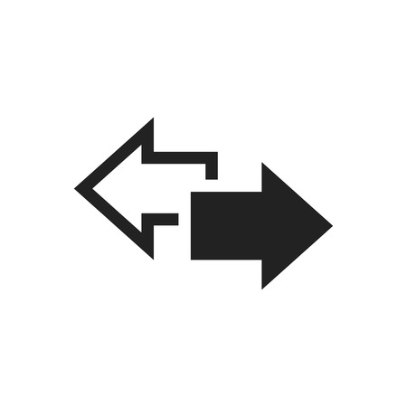 downgrade: Arrow left and right vector icon. Forward arrow sign illustration. Business concept.