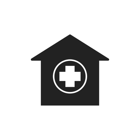 Hospital building vector icon. Infirmary medical clinic sign illustration. Çizim