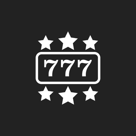Casino slot machine flat vector icon. 777 jackpot illustration pictogram. Stock Illustratie