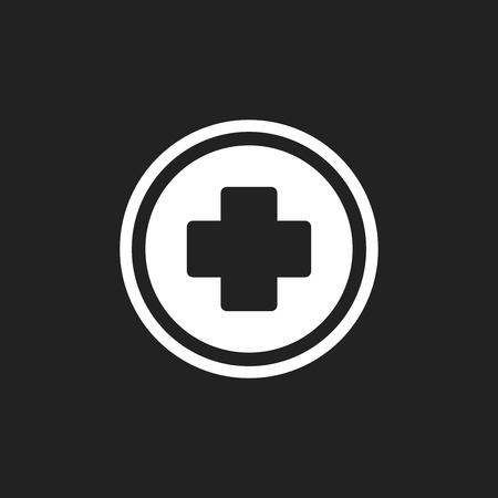 Medical health vector icon. Medicine hospital plus sign illustration.