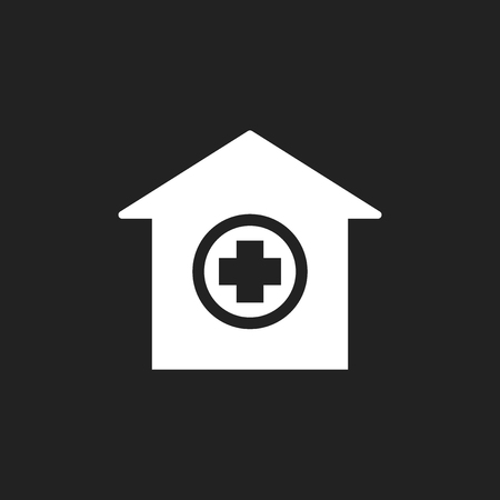 Hospital building vector icon. Infirmary medical clinic sign illustration. Illustration