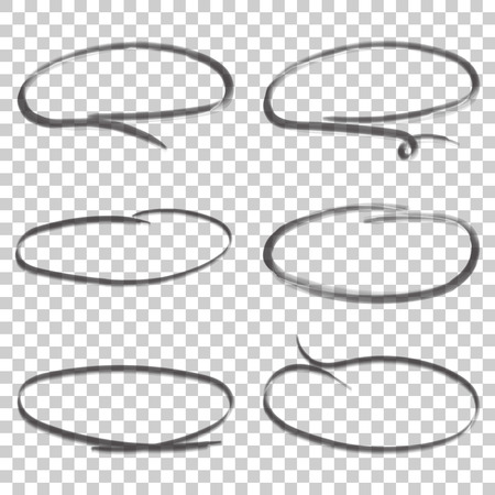 Hand drawn circles icon set. Collection of pencil sketch symbols. Vector illustration on isolated background.