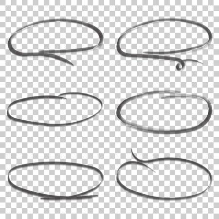 Hand getrokken cirkels pictogramserie. Verzameling potlood schets symbolen. Vectorillustratie op geïsoleerde achtergrond.